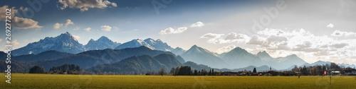 Garden Poster Panorama Photos Bergpanorama bei Schwangau im Allgäu Bayern Deutschland