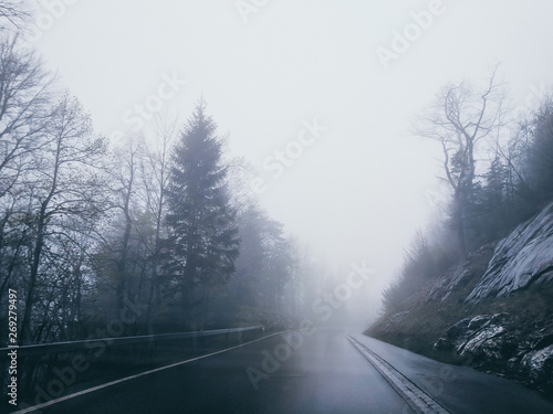 Fototapety, obrazy: Foggy road in Swiss Alps