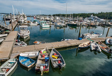 Maine Marina:  Boats Of Many Types Large And Small Gather At A Marina In Southeast Maine.