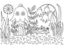 Hand-drawn Coloring Page With A House