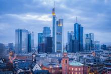 Skyline At Sunset In Frankfurt, Germany