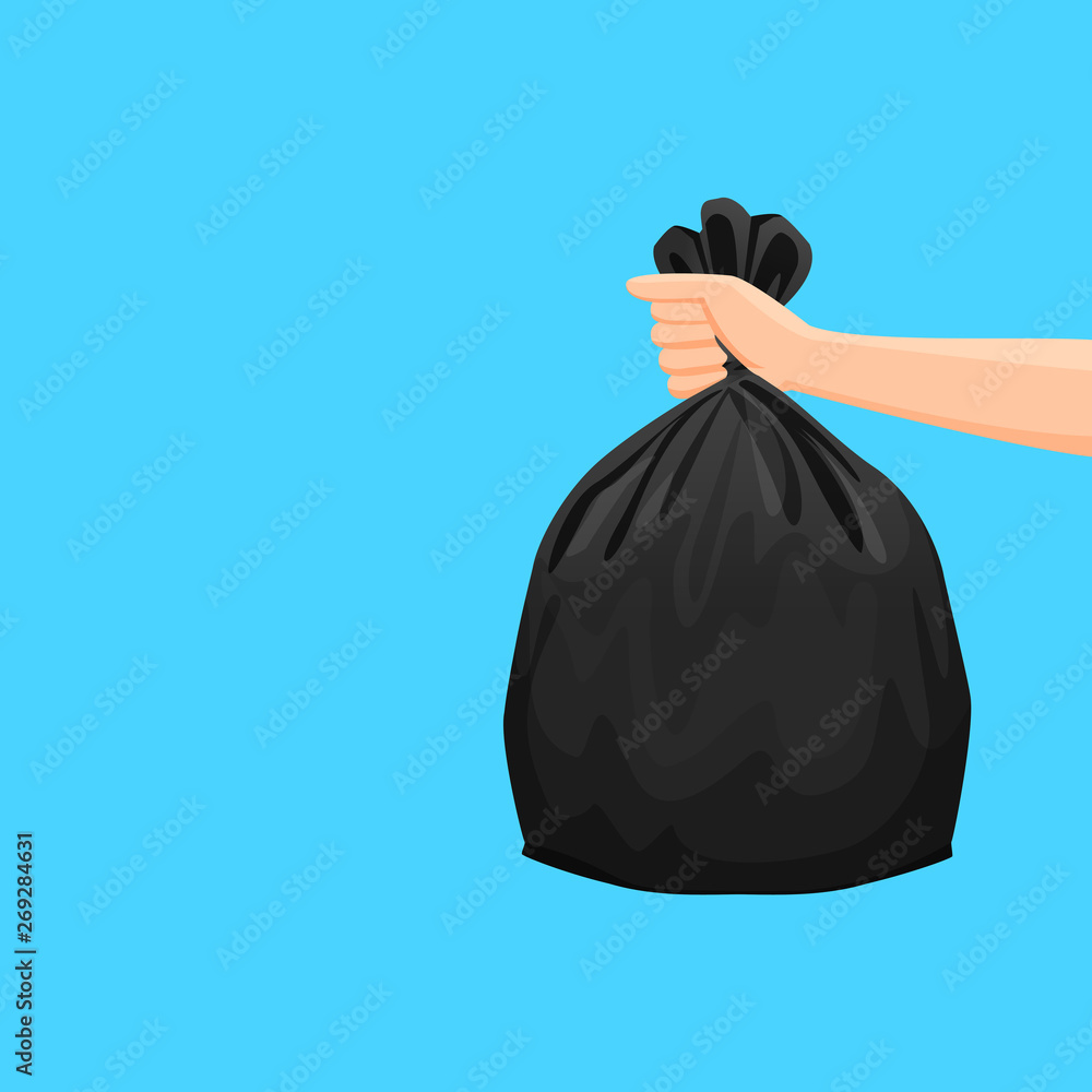 Fototapeta bags waste, garbage black plastic bag in hand isolated on blue background, bin bag plastic black for disposal garbage, icon bag trash and hand, bags waste full, illustration rubbish junk bag recycle