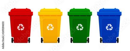 Fotografia, Obraz bin plastic, four colorful recycle bins isolated on white background, red, yello