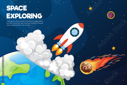 Foto op Canvas Kosmos universe background with abstract shape and planets. Web design. space exploring.
