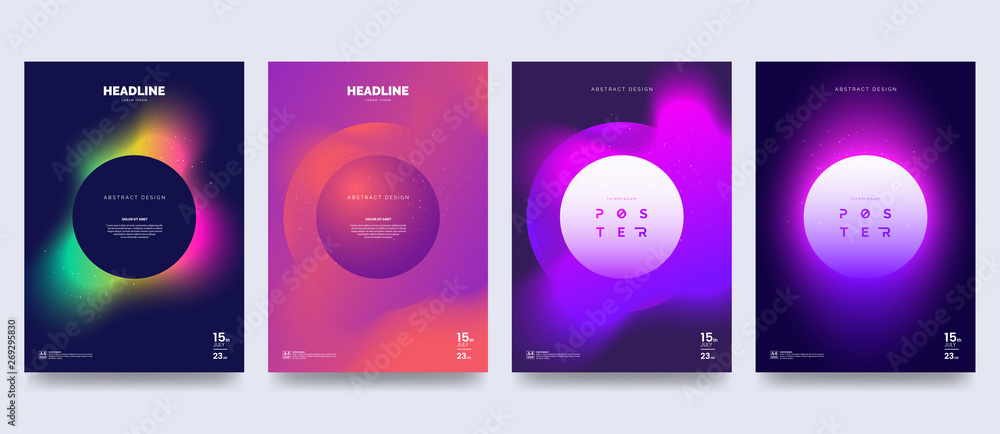 Fototapeta Vector colorful neon poster set. Circle shape with neon splash. Abstract background with liquid gradient. Fantastic eclipse. Applicable for banner design, cover, invitation, party flyer.