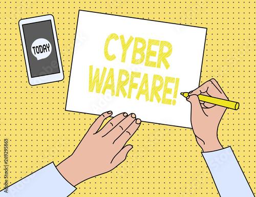 Photo  Word writing text Cyber Warfare