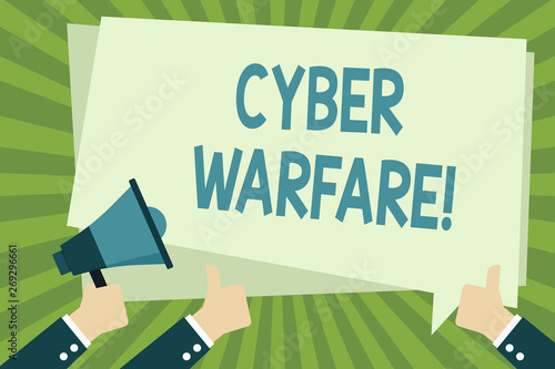 Photo  Handwriting text writing Cyber Warfare