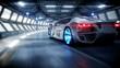 futuristic car fast driving in sci fi tunnel, coridor. Concept of future. Realistic 4k animation.