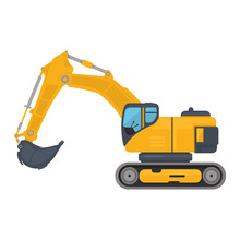 Digger Excavator Icon Vector Illustration