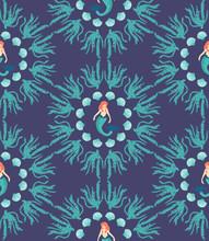 Cute Magical Blue Mermaid Seam...