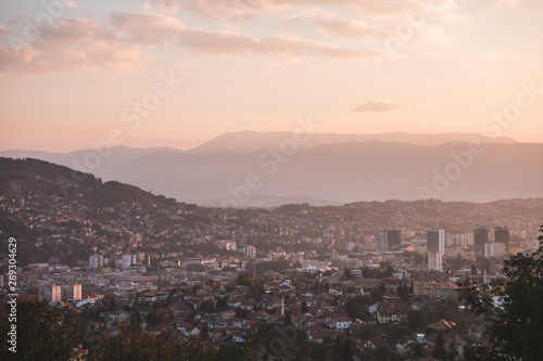 Poster Athens Sarajevo. Panoramic view from Sedrenik