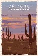 Arizona Desert Retro Poster. USA Arizona Travel Illustration.