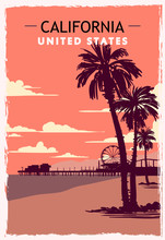 California Retro Poster. USA California Travel Illustration.