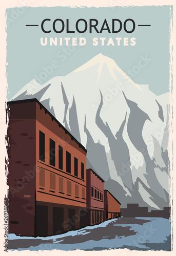 Colorado retro poster. USA Colorado travel illustration.