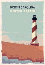 North Carolina Retro Poster. U...
