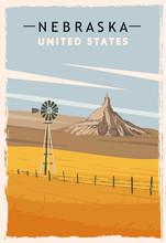 Nebraska Retro Poster. USA Nebraska Travel Illustration.