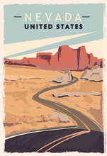 Nevada Retro Poster. USA Nevada Travel Illustration.