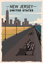 New Jersey Retro Poster. USA N...