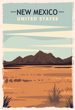 New Mexico Retro Poster. USA New-Mexico Travel Illustration.