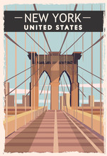 New York Retro Poster. USA New-York Travel Illustration.