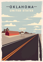 Oklahoma Retro Poster. USA Oklahoma Travel Illustration.
