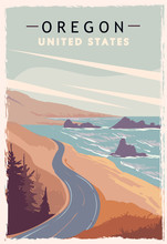 Oregon Retro Poster. USA Oregon Travel Illustration.