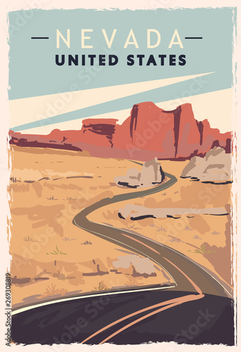 Nevada retro poster. USA Nevada travel illustration. Canvas Print
