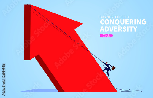 Photo Conquering adversity climbing huge red arrow