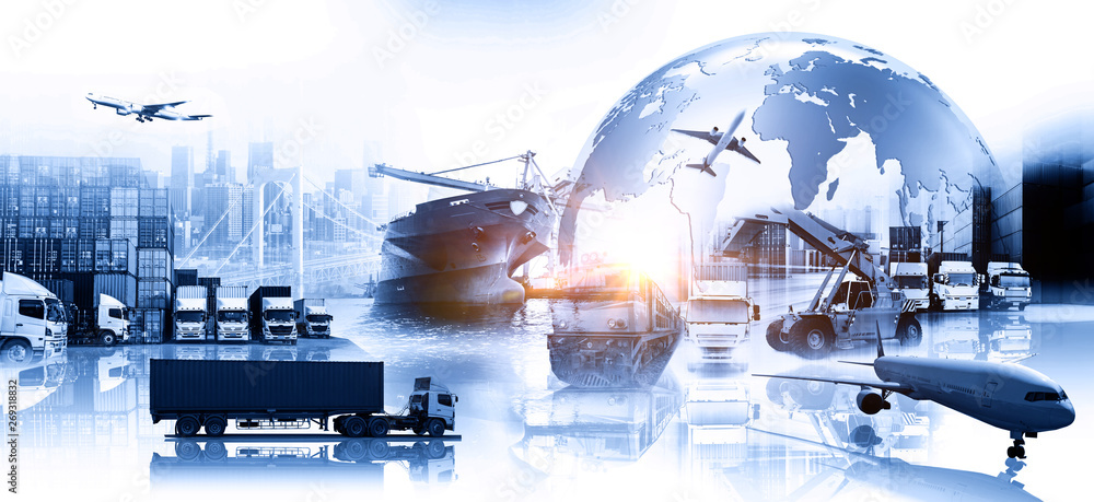 Fototapeta Global business of Container Cargo freight train for Business logistics concept, Air cargo trucking, Rail transportation and maritime shipping, Online goods orders worldwide