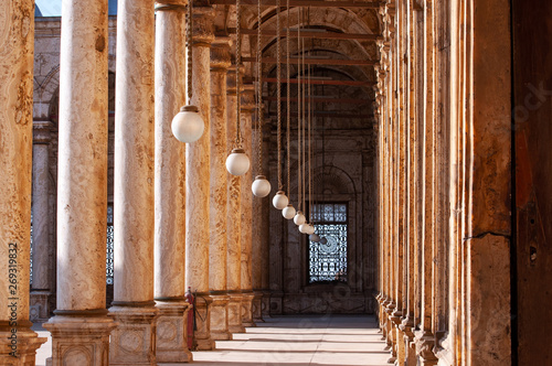 Gallery of Mohammad Ali mosque in Cairo, architecture details, column and lamps Fototapeta