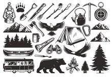 Vintage Monochrome Camping Elements Set