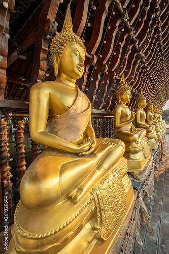 Buddha Statues, Seema Malakaya Temple, Columbo, Sri Lanka Canvas Print