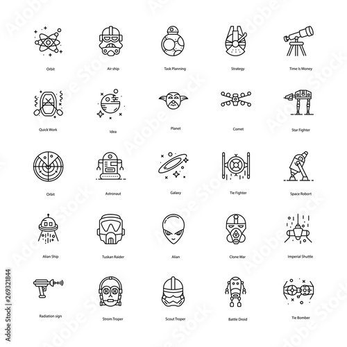 Star War Line Icons Pack Wallpaper Mural