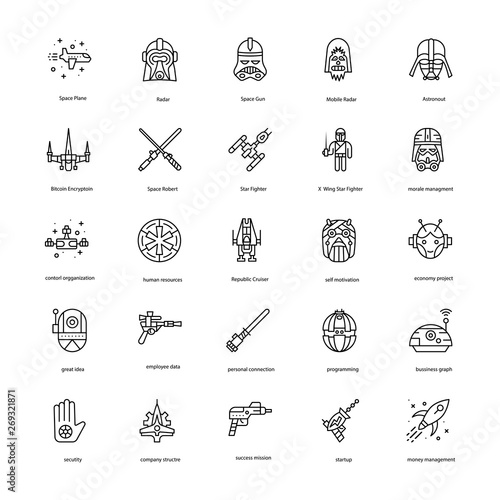 Star War Line Icons Set Canvas-taulu