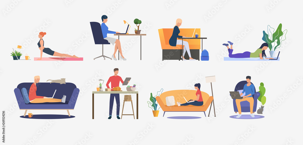 Fototapeta Set of people using computers and having rest. Men and women sitting on sofas, freelancing, cooking and practicing yoga. Vector illustration can be used for presentation slide, commercial, business