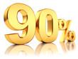3d render illustration. Golden ninety percent on a white background.