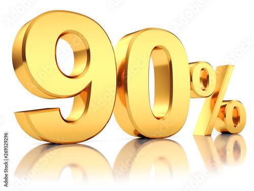 Fototapeta 3d render illustration. Golden ninety percent on a white background. obraz na płótnie