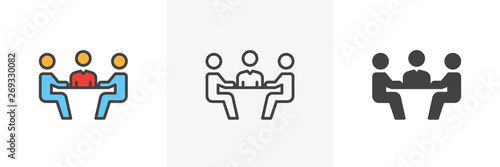 Obraz Business meeting icon. Line, glyph and filled outline colorful version, business conference outline and filled vector sign. Symbol, logo illustration. Different style icons set. Vector graphics - fototapety do salonu