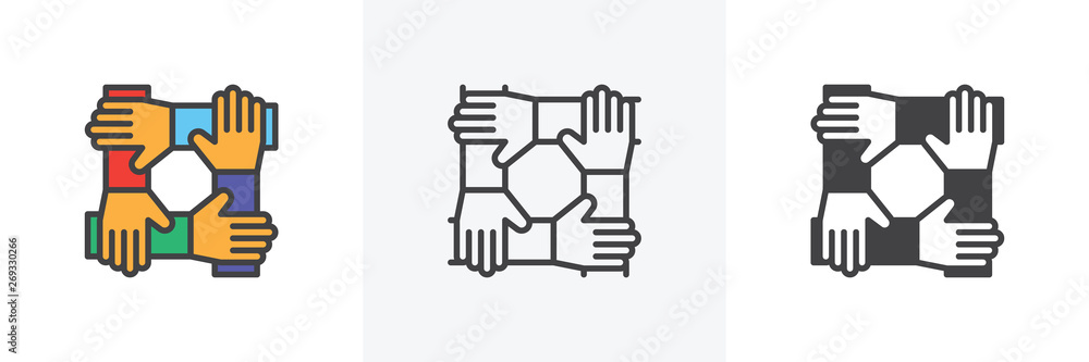 Fototapeta Cooperation hands, teamwork icon. Line, glyph and filled outline colorful version, Team work outline and filled vector sign. Symbol, logo illustration. Different style icons set. Vector graphics