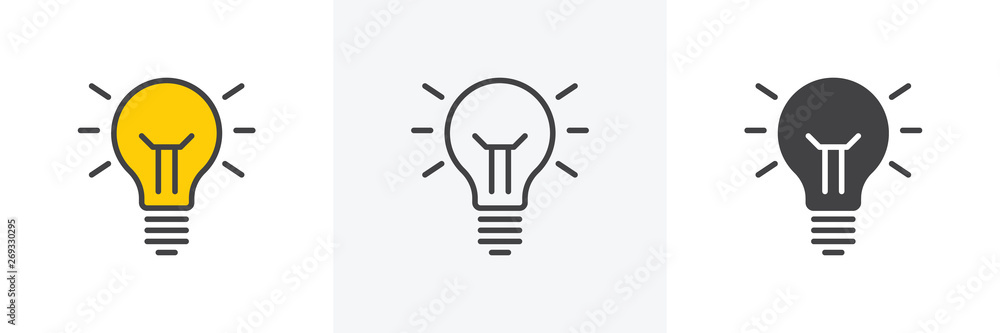 Fototapety, obrazy: Idea lamp icon. Line, glyph and filled outline colorful version, abstract light bulb outline and filled vector sign. Symbol, logo illustration. Different style icons set. Vector graphics
