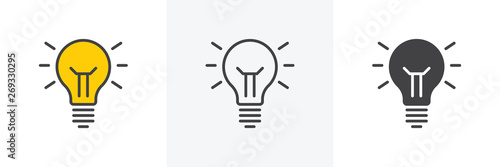 Obraz Idea lamp icon. Line, glyph and filled outline colorful version, abstract light bulb outline and filled vector sign. Symbol, logo illustration. Different style icons set. Vector graphics - fototapety do salonu