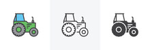Agricultural Tractor Icon. Lin...