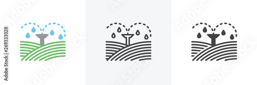 Obraz Irrigation sprinklers icon. Line, glyph and filled outline colorful version, field automatic sprinkler outline and filled vector sign. Symbol, logo illustration. Different style icons set - fototapety do salonu