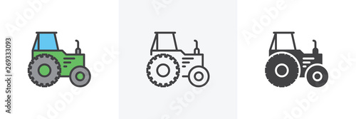 Fototapeta Agricultural tractor icon. Line, glyph and filled outline colorful version, Tractor truck outline and filled vector sign. Symbol, logo illustration. Different style icons set. Vector graphics obraz