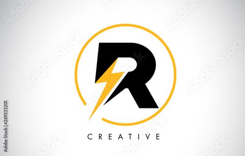 R Letter Logo Design With Lighting Thunder Bolt Canvas Print