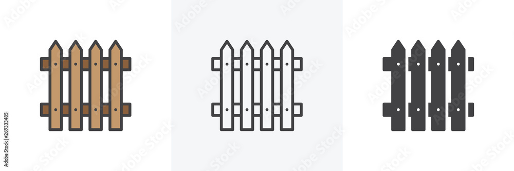 Fototapeta Plank fence icon. Line, glyph and filled outline colorful version, Picket fence outline and filled vector sign. Symbol, logo illustration. Different style icons set. Vector graphics