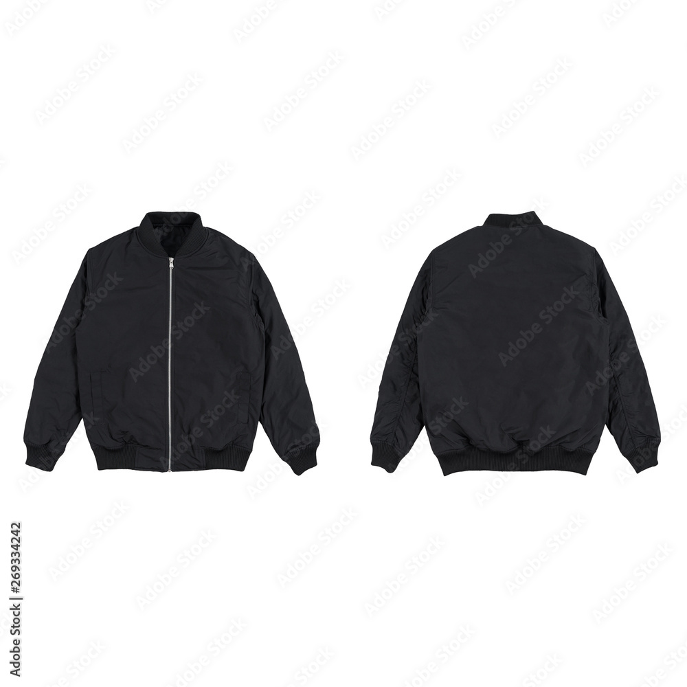 Fototapeta Blank plain bomber jacket isolated on white background. black bomber jacket. parachute jacket. front and back view. ready for your mock up design project.