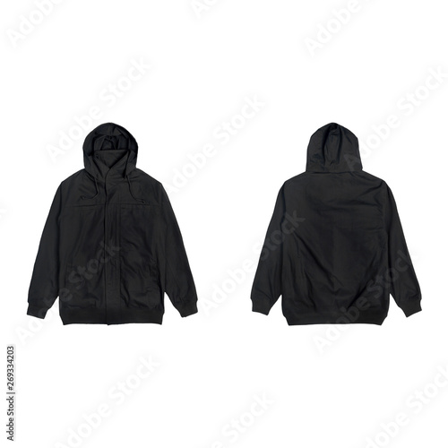 Stampa su Tela Blank plain bomber jacket hoodie black color front and back view bundle pack isolated on white background, ready for your mock up design