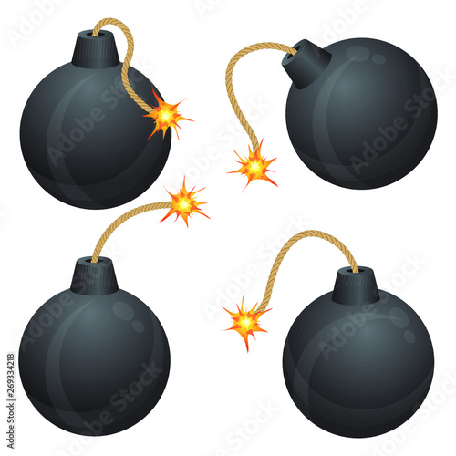 Bomb with burning fuse vector illustration isolated on white background Wallpaper Mural