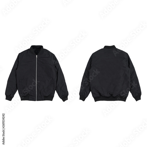 Leinwand Poster Blank plain bomber jacket isolated on white background